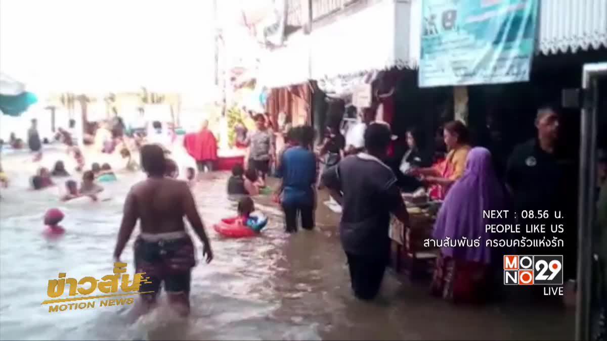 แม่น้ำเจ้าพระยาเอ่อท่วมชุมชนท่าอิฐ จ.นนทบุรี