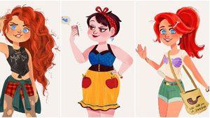 ภาพวาดสุดเก๋ไก๋! เสกเจ้าหญิงดิสนีย์ ให้กลายเป็นสาวยุคใหม่ ใน ศตวรรษที่ 21