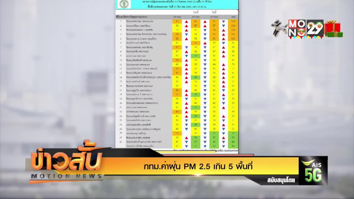 กทม.ค่าฝุ่น PM 2.5 เกิน 5 พื้นที่