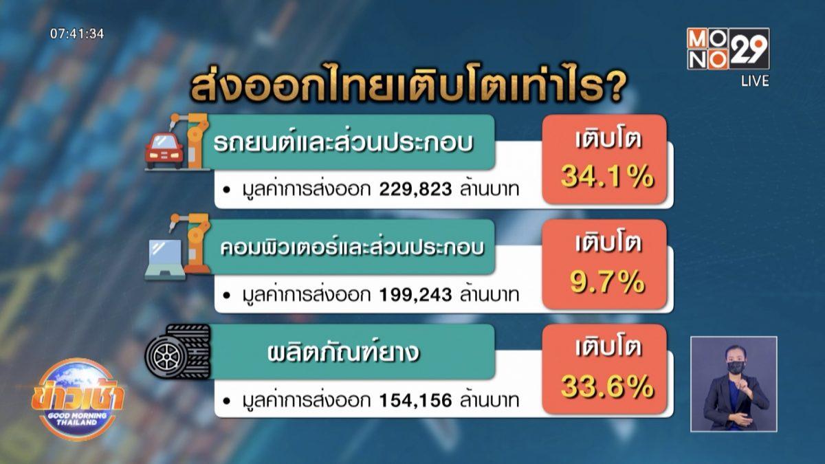 สินค้าส่งออกไทย ม.ค.- เม.ย.เติบโตขึ้นทุกกลุ่ม