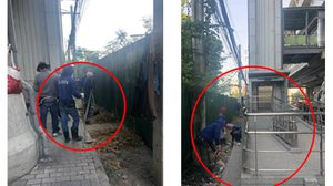 รฟม. ส่งคนงานเคลียร์พื้นที่ หลังภาพทางลงคนพิการ BTS สายลวดวิ่งเข้าป่า