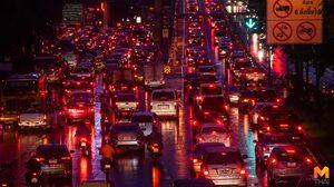 กทม.ยังคงมีฝนตกลงมาตลอดวัน ทำให้การจราจรติดขัดหลายจุด