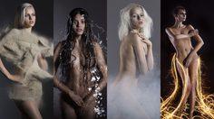 ศิลปะนู้ด สร้างชุดให้นางแบบจากธาตุ ดิน น้ำ ลม ไฟ ไม่ใช้ Photoshop