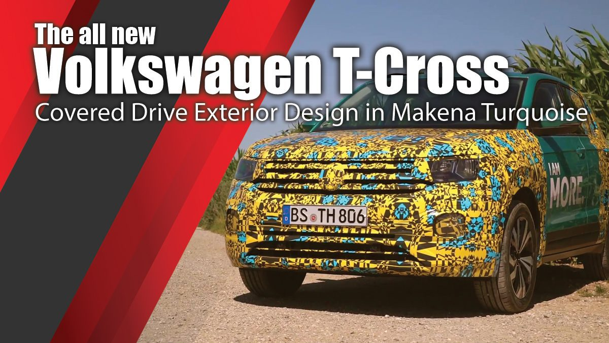 The all new Volkswagen T-Cross - Covered Drive Exterior Design in Makena Turquoise