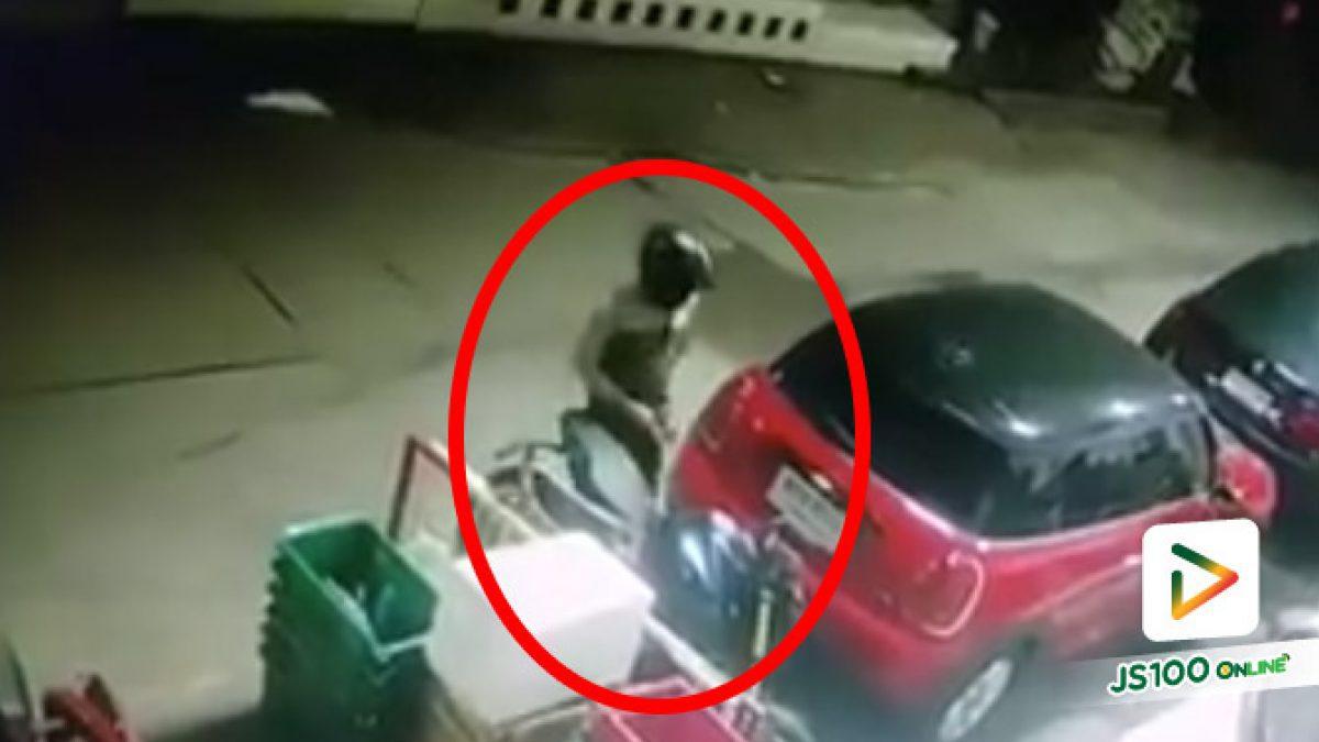 คนร้ายขโมยรถจยย.ที่จอดอยู่ภายในตลาดสด อ.ลำลูกกา จ.ปทุมธานี ก่อนหลบหนีลอยนวล 26/07/2020