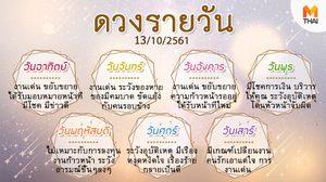 ดูดวงรายวัน ประจำวันเสาร์ที่ 13 ตุลาคม 2561 โดย อ.คฑา ชินบัญชร