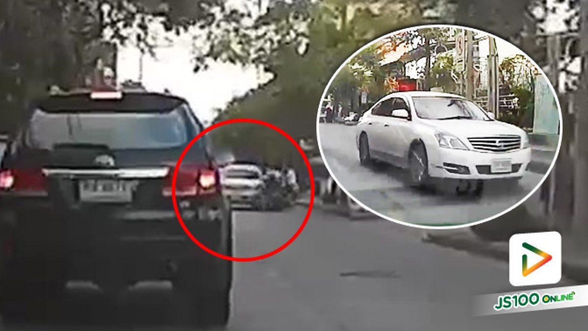 ชนแล้วตั้งใจหนีแบบนี้ ไม่รู้ว่าคนขับจักรยานยนต์จะบาดเจ็บหรือเปล่า