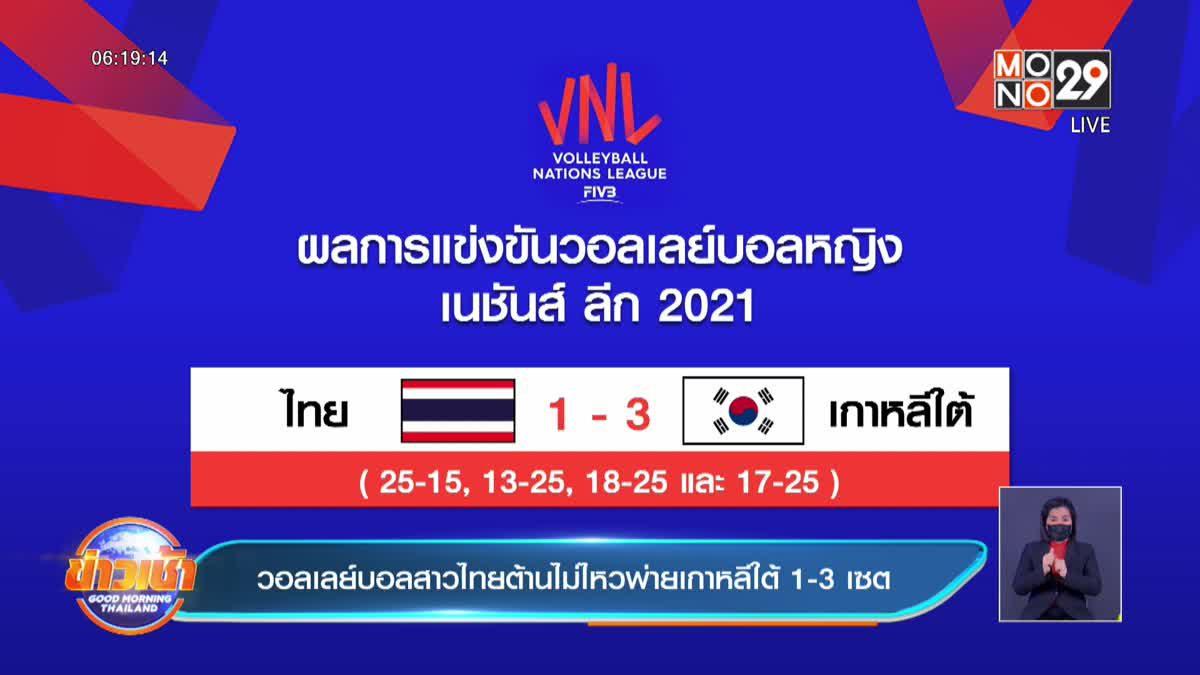 วอลเลย์บอลสาวไทยต้านไม่ไหวพ่ายเกาหลีใต้ 1-3 เซต