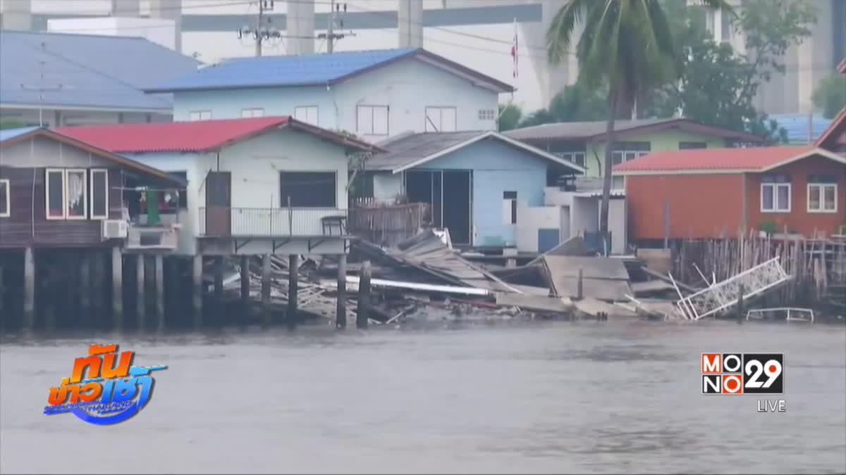 หางเสือเรือขัดข้อง พุ่งชนบ้านริมแม่น้ำเจ้าพระยา