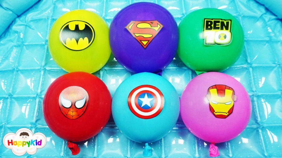 เพลง Finger Family #6 | เจาะลูกโป่งน้ำซุปเปอร์ฮีโร่ | Learn Color With Super Hero Balloon