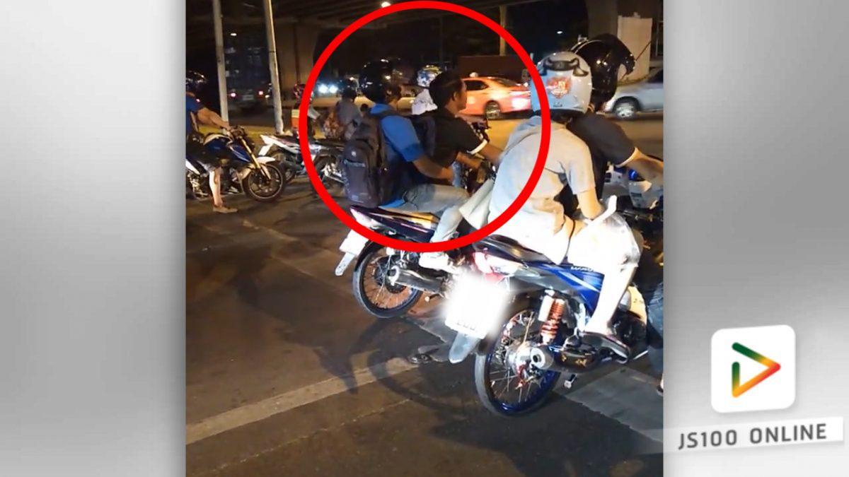 รถจักรยานยนต์เสียหลักพลิกคว่ำ..ที่แยกมีนบุรี (17-03-61)