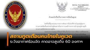 สถานทูตเตือนคนไทยในคูเวต ระวังอากาศร้อนจัด คาดอาจสูงถึง 60 องศาฯ