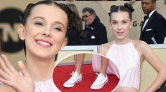 มิลลี่ บ็อบบี้ บราวน์ น่ารักสมวัย สวมรองเท้าผ้าใบ เดินพรมแดง SAG Awards!