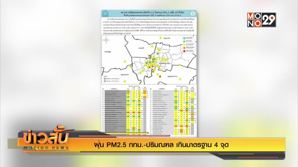 ฝุ่น PM2.5 กทม.-ปริมณฑล เกินมาตรฐาน 4 จุด