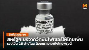 สหรัฐฯ ยืนยันบริจาควัคซีนให้ไทย เพิ่ม 1 ล้านโดส รวมเป็น 2.5 ล้านโดส
