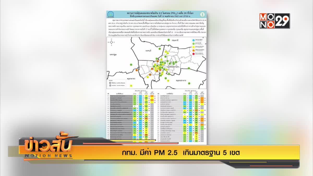 กทม. มีค่า PM 2.5  เกินมาตรฐาน 5 เขต