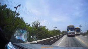 รถพ่วงมักง่ายแซงบนสะพาน หวิดพาคนอื่นเดือดร้อน!!