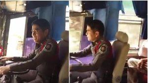 ฮีโร่! ตำรวจช่วยขับรถทัวร์ หลังโชเฟอร์ตัวจริงเป็นลม