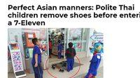 ดังไกลไปถึงเมืองนอก สื่อสิงคโปร์ชม 'ม้งน้อย' ถอดรองเท้าก่อนเข้าร้านสะดวกซื้อ