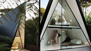 แบบบ้านแนวโมเดิร์น ทรงสามเหลี่ยมขนาด 70 ตร.ม. สำหรับพักตากอากาศ