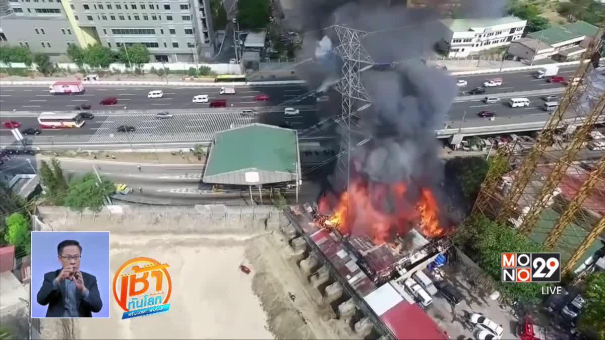 เสาไฟฟ้าแรงสูงในฟิลิปปินส์โค่นจากเหตุเพลิงไหม้