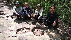 เผยแล้ว รอยประหลาดบนลานหิน คล้ายเท้าไดโนเสาร์ ที่กาฬสินธุ์