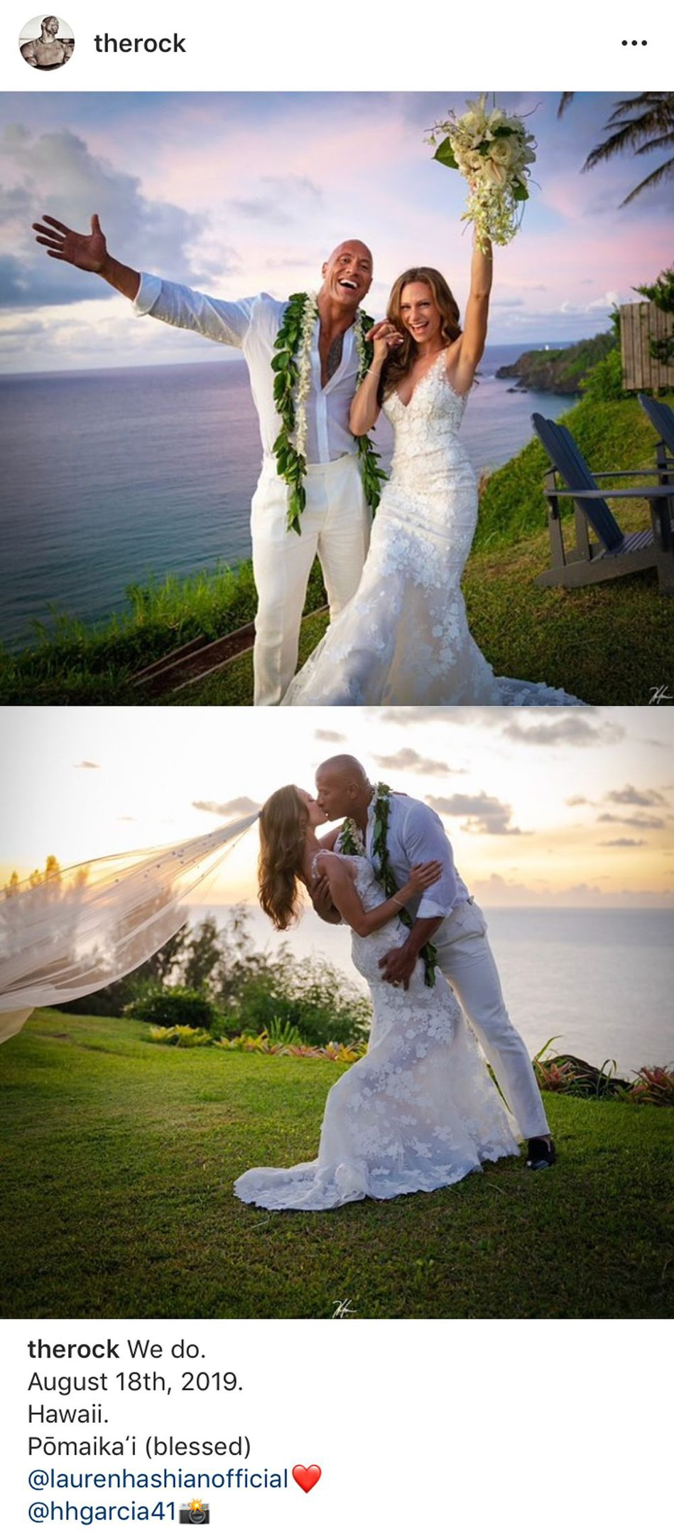 ไอจีเดอะร็อก โชว์ภาพแต่งงาน