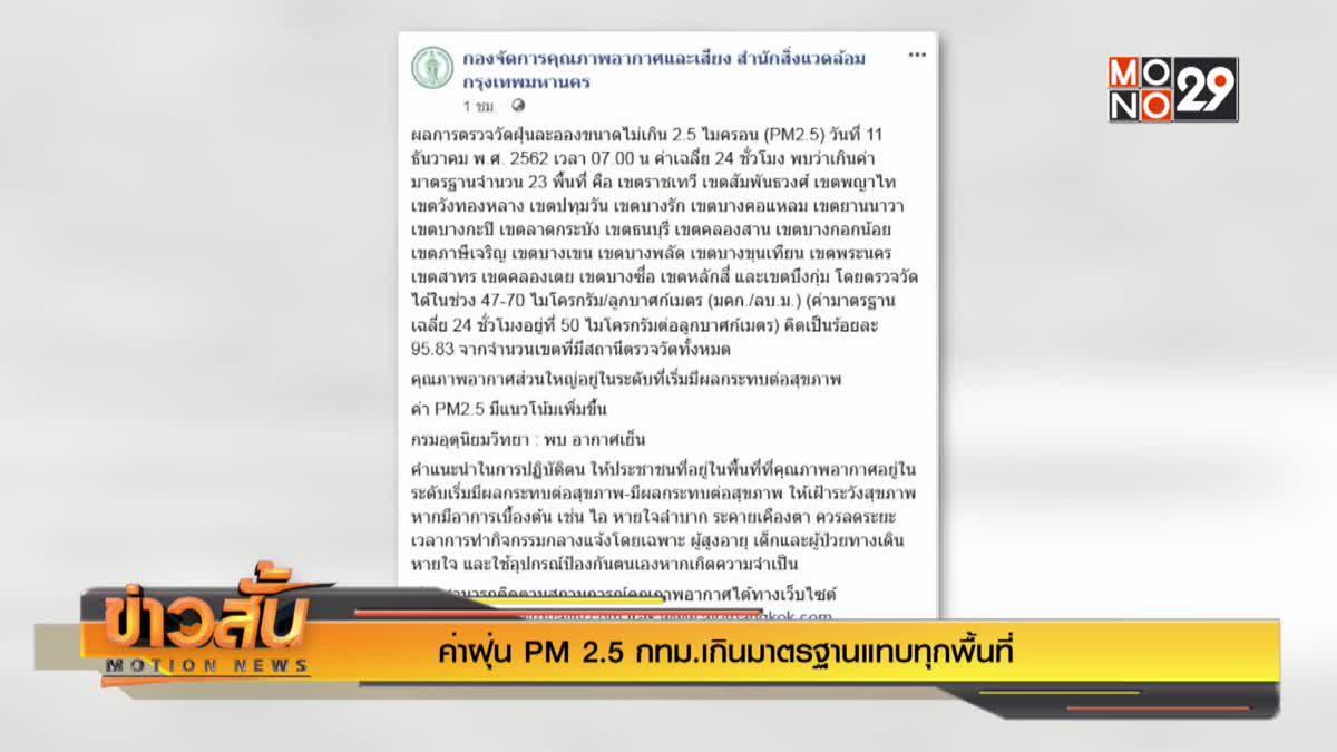ค่าฝุ่น PM 2.5 กทม.เกินมาตรฐานแทบทุกพื้นที่