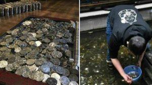 จนท.จีนเก็บเงินได้นับหมื่นบาท หลังนทท.แห่โยนเหรียญลงบ่อน้ำ