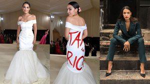 ส.ส.หญิงขวัญใจรากหญ้า AOC ปรากฎตัวบนพรมแดง Met Gala บนชุดที่มีข้อความ เก็บภาษีคนรวย