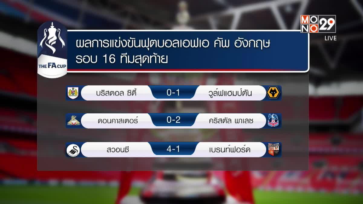 ผลการแข่งขันฟุตบอลเอฟเอ คัพ อังกฤษ รอบ 16 ทีมสุดท้าย