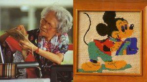 ผ้าปักรูปมิกกี้เม้าส์และกระต่ายฝีพระหัตถ์สมเด็จย่า