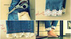 DIY กางเกงยีนส์ ด้วย ลูกไม้เก๋ๆ ถ้า 'ขากางเกงยาวเกิน' ก็ตัดเองซะเลย!!