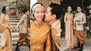 ประมวลภาพพิธีหมั้น โทนี่-แก้ว บ่าวสาวสุดแนวแห่งยุค ในลุคชุดไทยโทนสีทอง