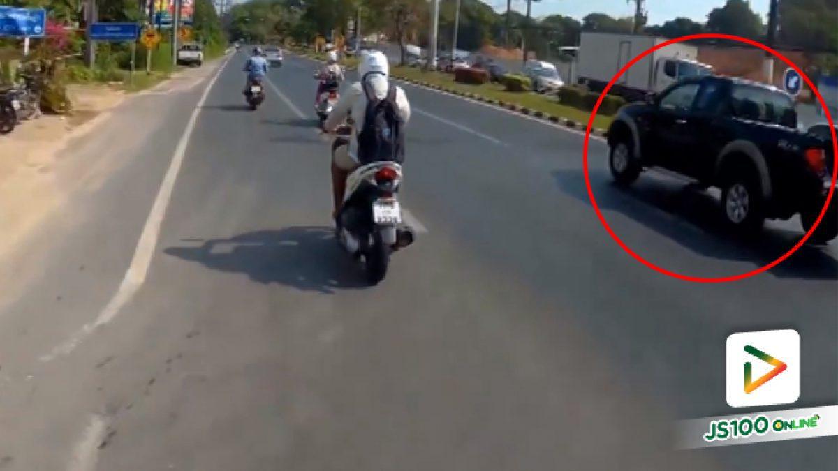 คลิปกระบะไม่ปิดท้ายถังแก๊สหล่นกลางถนน (23-03-61)