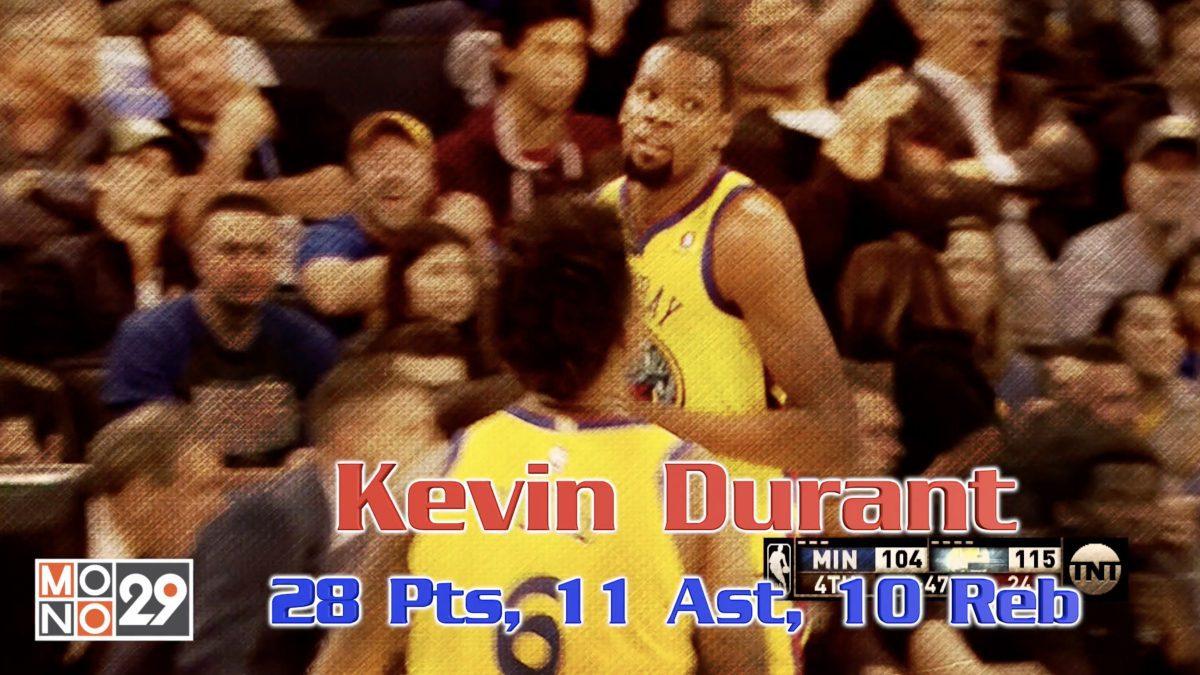 Kevin Durant 28pt. 11 ast. 10 reb.