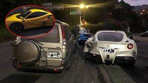 หนุ่มไต้หวันขับรถหลับใน เกิดอุบัติเหตุชนเข้ากับ เฟอร์รารี่ 3 คัน เสียหายกว่า 12 ล้านบาท