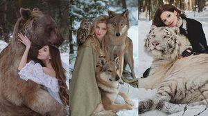อย่างกับในหนัง!! ภาพถ่ายของคนกับสัตว์ป่า จากศิลปินสาวที่ฝืนกฎธรรมชาติ