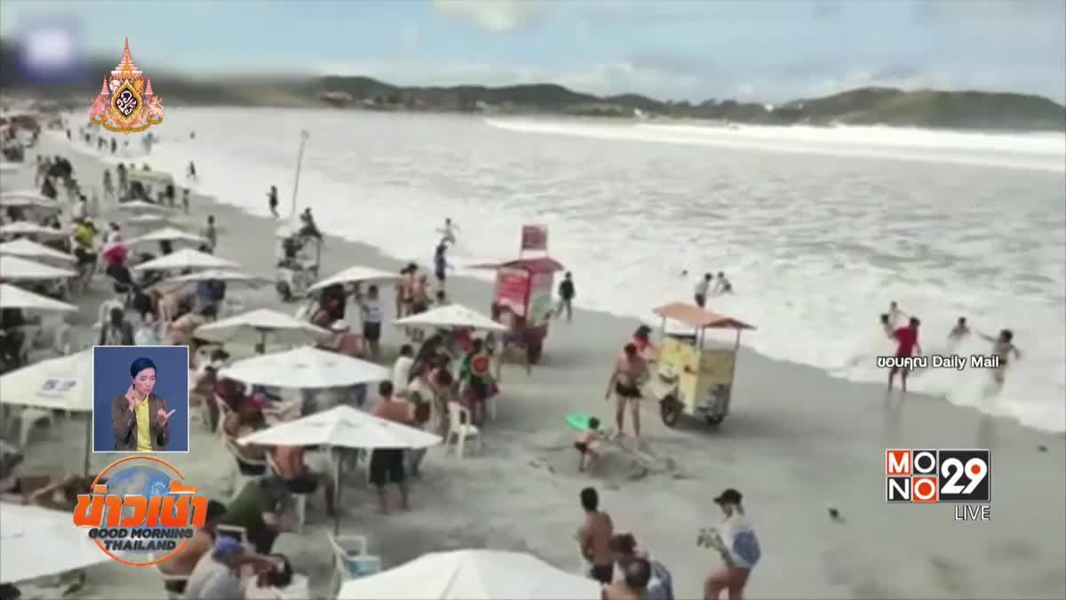 นทท.ระทึก! คลื่นลูกใหญ่ซัดหาดบราซิลแบบไม่ทันตั้งตัว