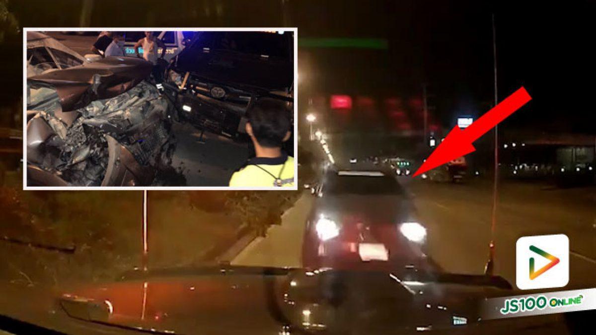 ปิคอัพเมาแอ๋! ซิ่งพุ่งชนรถอาสากู้ภัยฯ เสียหาย 2 คัน (29/10/2020)
