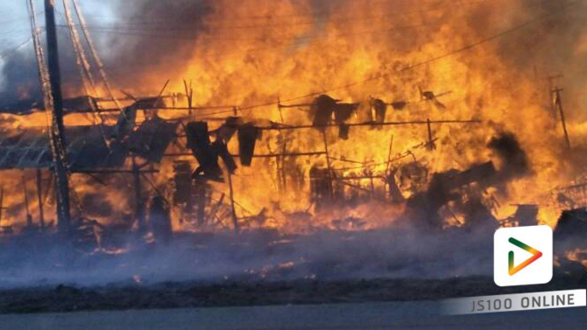 เพลิงไหม้กองไม้พาเลท  ในโรงงานย่านบางปะอิน (12-04-2561)