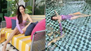 อั้ม-พัชราภา อวดหุ่นสวยในชุดว่ายน้ำวันพีชเกาะอก สไตล์วินเทจสีลาเวนเดอร์