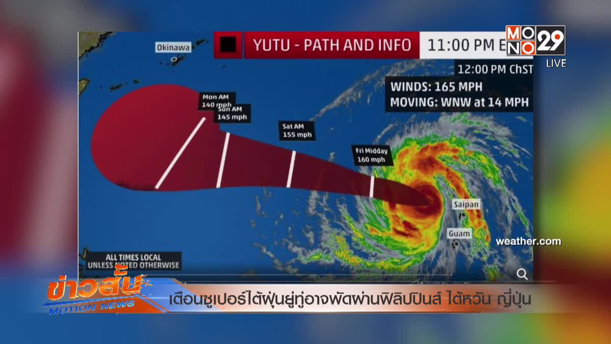เตือนซูเปอร์ไต้ฝุ่นยู่ทู่อาจพัดผ่านฟิลิปปินส์ ไต้หวัน ญี่ปุ่น
