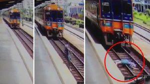 คลิปสยอง! สาววิ่งไปนอนให้รถไฟทับร่างแหลก-อาการสาหัส