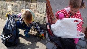 ผู้ใหญ่มีอาย! เด็กน้อยวัย 3 ขวบเดินเก็บขยะบนถนนทีละชิ้นด้วยตัวเอง