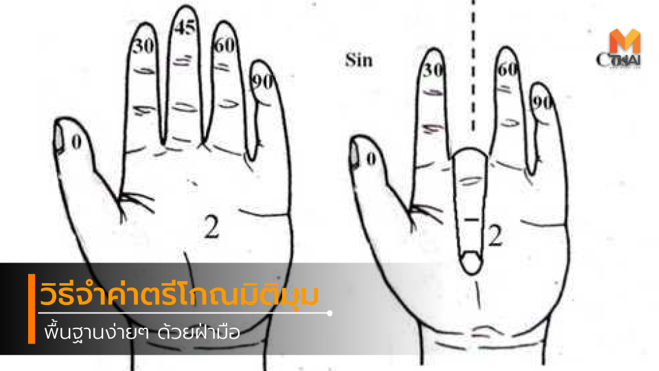 วิธีจำค่าตรีโกณมิติมุมพื้นฐานง่ายๆ ด้วยฝ่ามือ