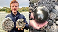 นักศึกษาแพทย์ Aaron Smith ค้นพบฟอสซิลหอยแอมโมไนต์ ที่มีอายุ 185 ล้านปี