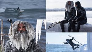 เหตุเกิดจากความหนาว!! นักเล่นเซิร์ฟ ออกมาโต้คลื่น ท้าอุณหภูมิ -34 องศาเซลเซียส