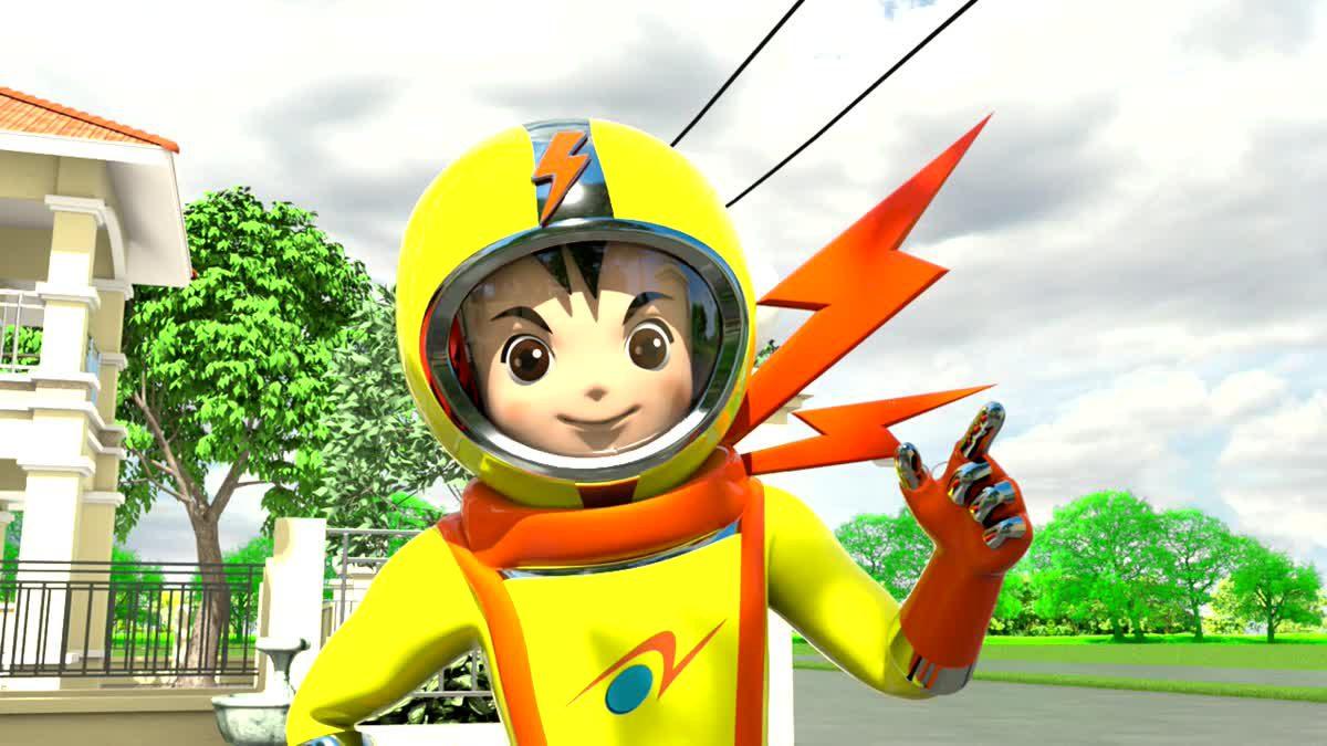 """การ์ตูนแอนิเมชั่น 3 มิติ เรื่อง """"มนุษย์ไฟฟ้าอัศวินพิทักษ์โลก season 2""""  ตอนที่ 13 : ลดขยะด้วยหลัก 7R"""
