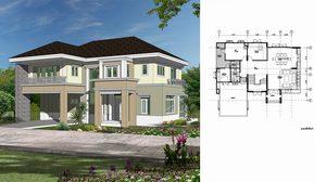 แจกฟรี แบบบ้านสองชั้น พื้นที่ตั้งแต่ 310 – 370 ตารางเมตร